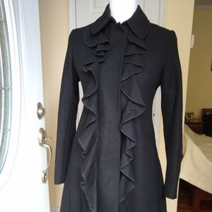 DKNY Wool Winter Coat Ruffle Front Pleated W Sz 4